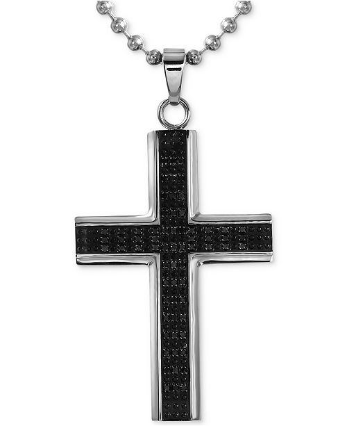 Macy S Men S Diamond Cross Pendant Necklace 1 2 Ct T W In Stainless Steel With Rhodium Plating Reviews Necklaces Jewelry Watches Macy S