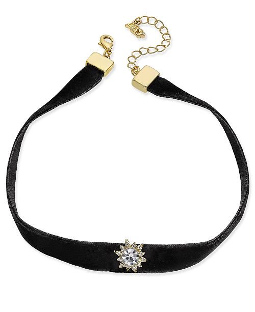 ABS by Allen Schwartz ABS by Alan Schwartz Gold-Tone Black Velvet Crystal Choker Necklace