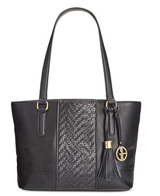 Womens Leather Weave Satchel Handbag Brown Large Giani Bernini