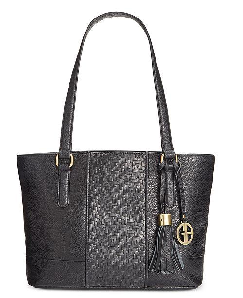 Womens Leather Weave Satchel Handbag Brown Large Giani Bernini EygJL