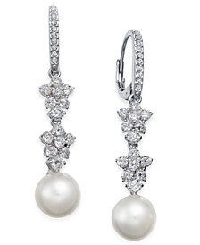 Danori Silver-Tone Imitation Pearl & Crystal Drop Earrings, Created for Macy's