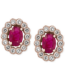 Amoré by EFFY® Certified Ruby (1-9/10 ct. t.w.) and Diamond (5/8 ct. t.w.) Bezel Earrings in 14k Rose Gold, Created for Macy's