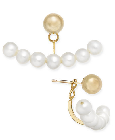 Cultured Freshwater Pearl (3mm) and Gold Ball Stud Earring Jackets in 14k Gold
