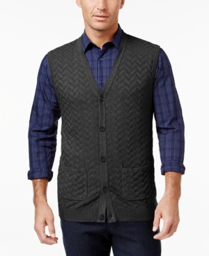 1920s Style Mens Vests Tasso Elba Mens Chevron Sweater Vest Only at Macys $14.86 AT vintagedancer.com