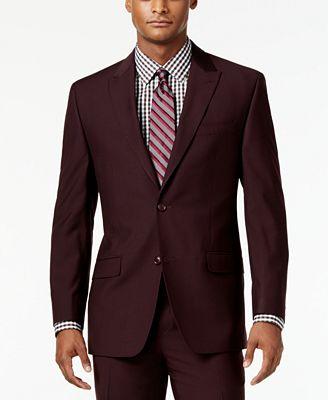 Sean John Men's Classic-Fit Burgundy Solid Suit Jacket - Blazers ...