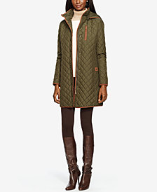 Lauren Ralph Lauren Hooded Quilted Coat, Created for Macy's