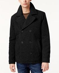 Kenneth Cole Men's Kurt Notch-Collar Pea Coat (Charcoal/Black)
