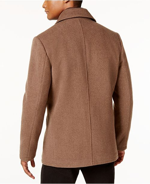 00147ee15c5 Kenneth Cole Men s Robert Pea Coat with Rib-Knit Bib   Reviews ...