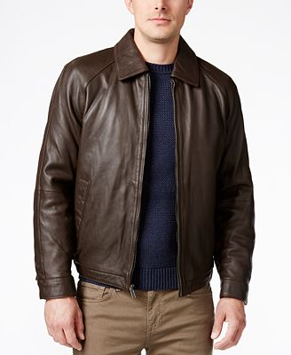 Nautica Men's Big and Tall Point Collar Leather Jacket - Coats ...