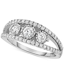 TruMiracle® Diamond Three-Stone Anniversary Band (1 ct. t.w.) in 14k White Gold