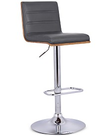 Aubrey Barstool Chrome Base finish with Black Faux Leather and Walnut Back