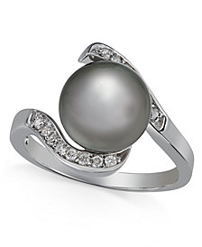 Cultured Tahitian Pearl (10mm) and Diamond (1/6 ct. t.w.) Ring in 14k White Gold
