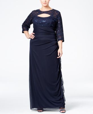 Betsy & Adam Plus Size Sequined Lace Cutout Gown