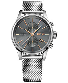 BOSS Hugo Boss Men's Chronograph Jet Stainless Steel Mesh Bracelet Watch 41mm 1513440