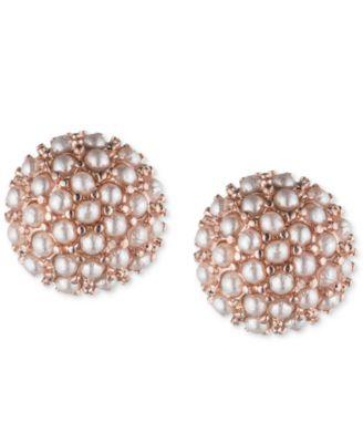 Rose Gold-Tone Mini Imitation Pearl Cluster Stud Earrings