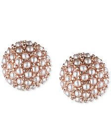 lonna & lilly Rose Gold-Tone Mini Imitation Pearl Cluster Stud Earrings