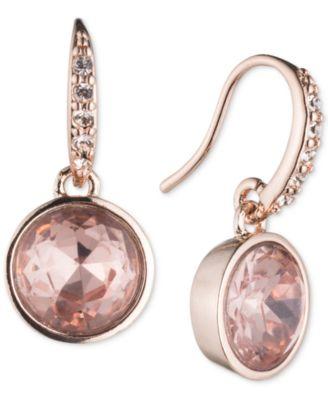 Rose Gold-Tone Pink Stone Drop Earrings