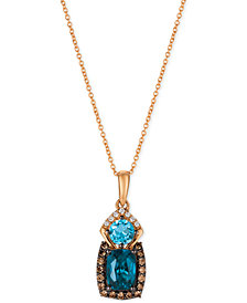Le Vian® Chocolatier Blue Topaz (2 ct. t.w.) and Diamond (3/8 ct. t.w.) Pendant Necklace in 14k Rose Gold, Created for Macy's
