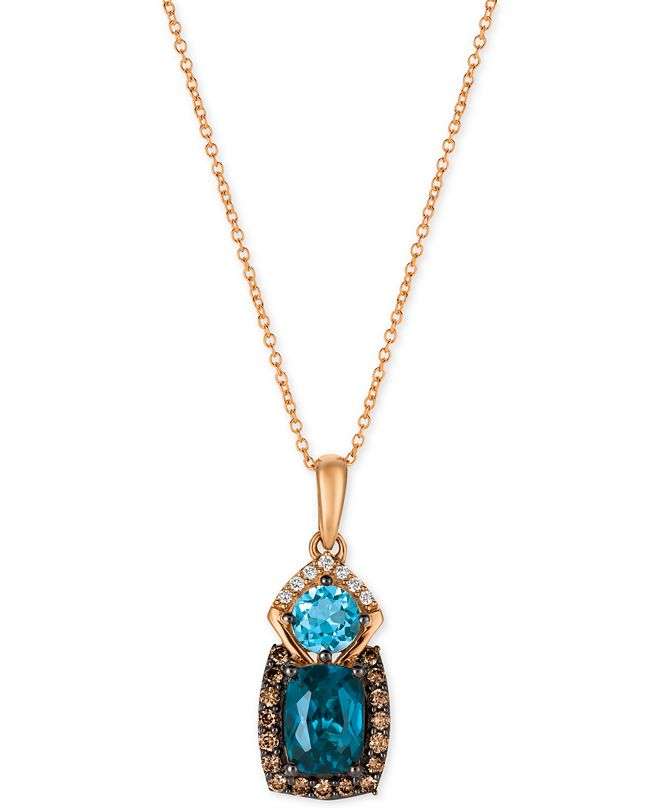 Le Vian Chocolatier Blue Topaz (2 ct. t.w.) and Diamond (3/8 ct. t.w.) Pendant Necklace in 14k Rose Gold, Created for Macy's