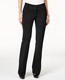 Alfani Petite Faux-Leather-Trim Wide-Leg Trousers, Created for Macy's