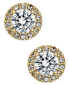 Gold-Tone Crystal Halo Stud Earrings, Created for Macy's