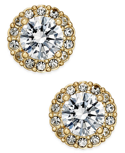 Danori Gold-Tone Crystal Halo Stud Earrings, Created for Macy's