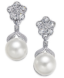 Danori Silver-Tone Imitation Pearl Post Earrings, Created for Macy's