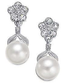 Eliot Danori Silver-Tone Imitation Pearl Post Earrings, Created for Macy's