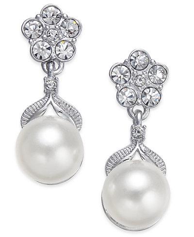 Danori Silver-Tone Imitation Pearl Post Earrings, Created for Macy's