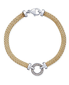 Diamond Mesh Circle Bracelet (1/8 ct. t.w.) in 14k Gold-Plated Sterling Silver