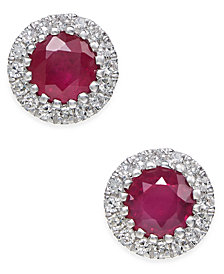 Ruby (5/8 ct. t.w.) and Diamond (1/10 ct. t.w.) Stud Earrings in 14k White Gold