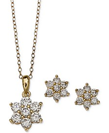 Cubic Zirconia Flower Pendant Necklace and Stud Earrings Set in 18k Gold-Plated Sterling Silver and Sterling Silver, Created for Macy's