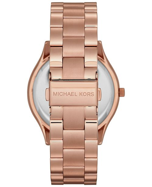 cc6b37cc3253 ... Michael Kors Unisex Slim Runway Rose Gold-Tone Stainless Steel Bracelet  Watch 42mm MK3197 ...