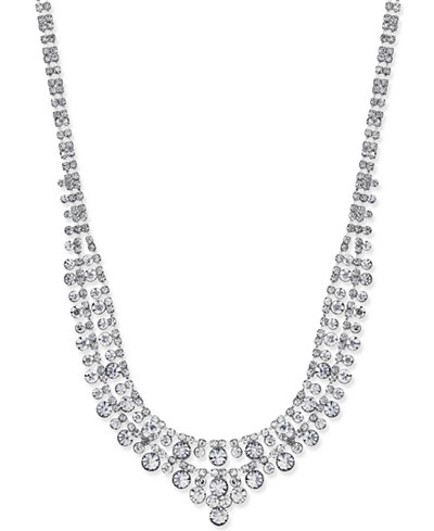 Charter Club Silver-Tone Two-Row Crystal Collar Necklace, Created for Macy's