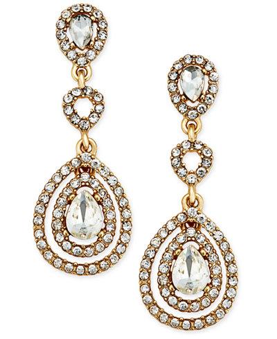 Charter Club Gold-Tone Crystal and Pavé Orbital Drop Earrings, Created for Macy's