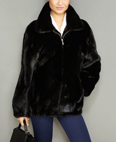 The Fur Vault Mink Fur Wing-Collar Jacket
