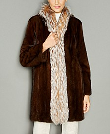 Fox-Fur-Trim Mink Fur Coat