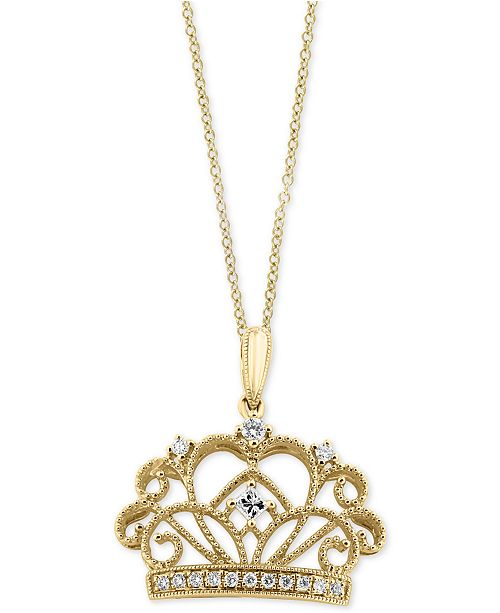 EFFY Collection EFFY® Diamond Crown Pendant Necklace (1/8 ct. t.w.) in 14k Gold