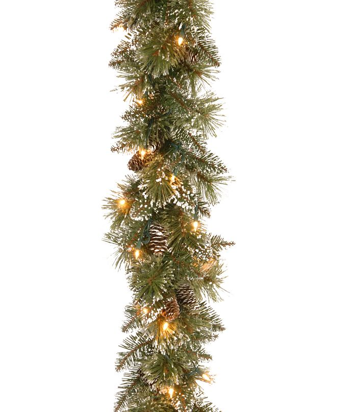 """National Tree Company 6' x 10"""" Glittery Bristle Pine Garland with Cones & 50 Battery Operated LED Lights"""