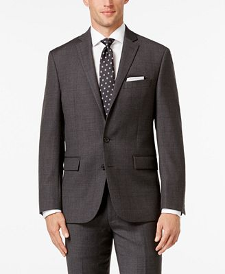 Ryan Seacrest Distinction Men's Modern Fit Gray Windowpane Suit Jacket, Only at Macy's