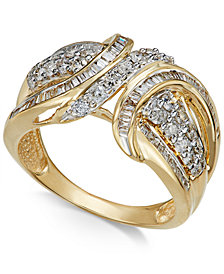 Diamond Swoop Band (1 ct. t.w.) in 14k Yellow or White Gold