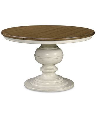 Expandable Round Dining Table sag harbor expandable round dining pedestal table - furniture - macy's