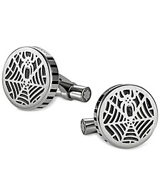 Spider Men's Stainless Steel and Black Web Cufflinks 114708