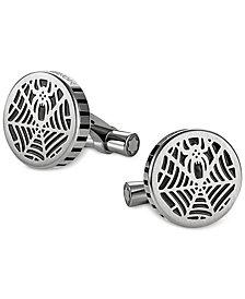 Montblanc Spider Men's Stainless Steel and Black Web Cufflinks 114708
