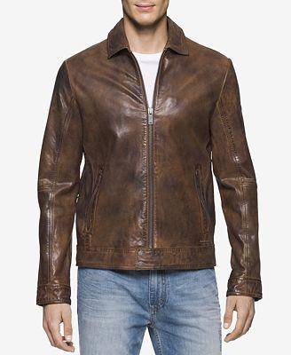 Calvin Klein Jeans Men's Vintage Leather Bomber Jacket - Coats ...