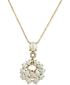 Opal (3-5/8 ct. t.w.) and Diamond Accent Pendant Necklace in 14k Gold