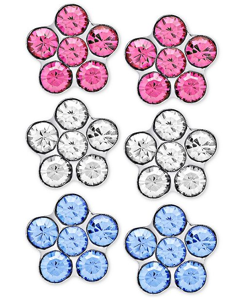 Macy's Children's 3-Pc. Set Crystal Flower Stud Earrings in Sterling Silver
