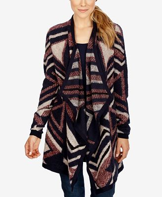 Lucky Brand Striped Waterfall Cardigan - Sweaters - Women - Macy's