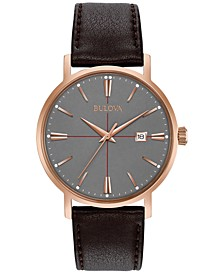Men's Brown Leather Strap Watch 39mm 97B154
