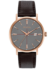 Bulova Men's Brown Leather Strap Watch 39mm 97B154